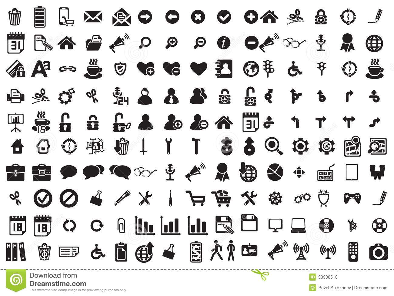Black and White Business Icons Vector