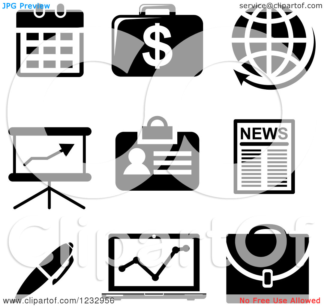 Black and White Clip Art of Business Icons