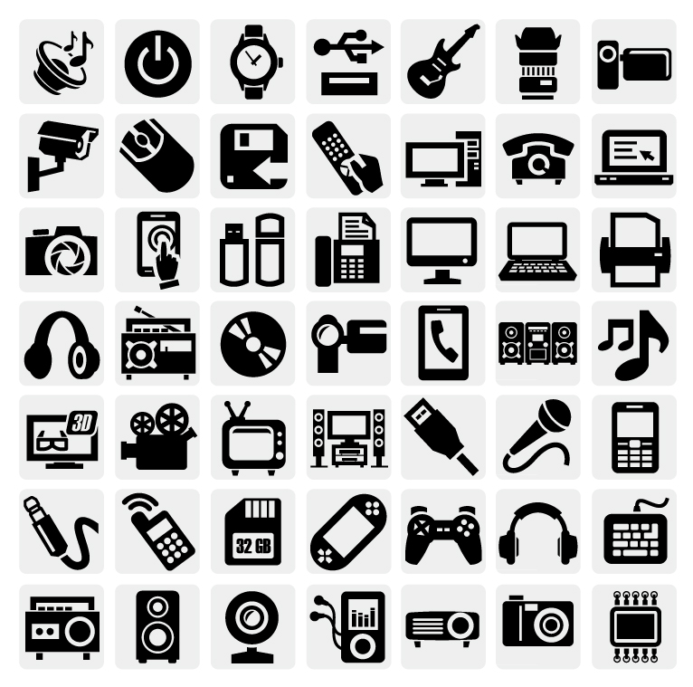 Black and White Vector Icons Free