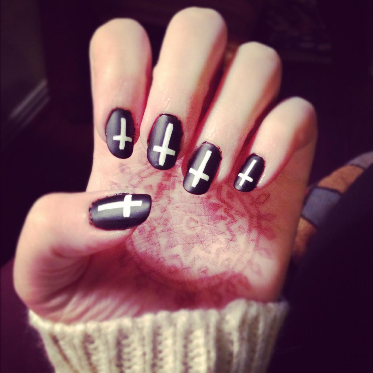 14 Black And White Nail Designs Tumblr Images White Nail Designs