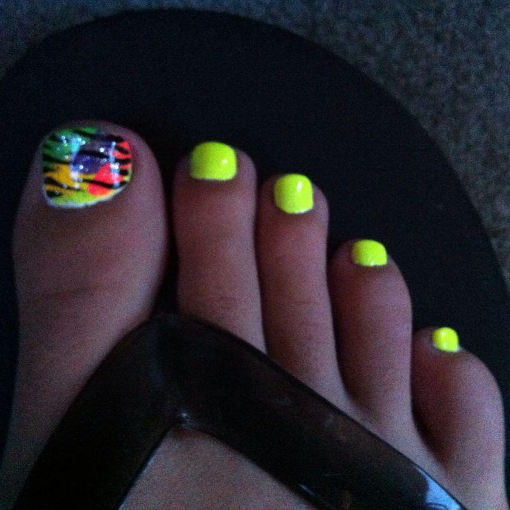 Bright Yellow Toe Nail Design