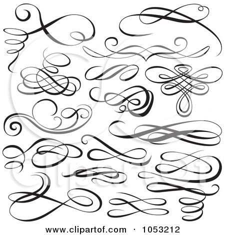 13 Scroll Calligraphic Design Elements Images Free