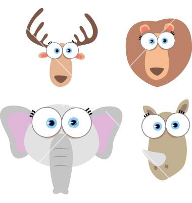 Cartoon Animals with Big Eyes