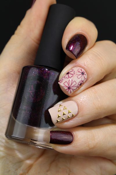 Color and Dark Purple Nails Designs
