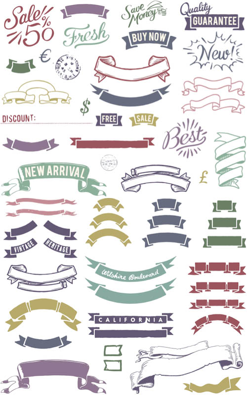 Colorful Vintage Vector Ribbons