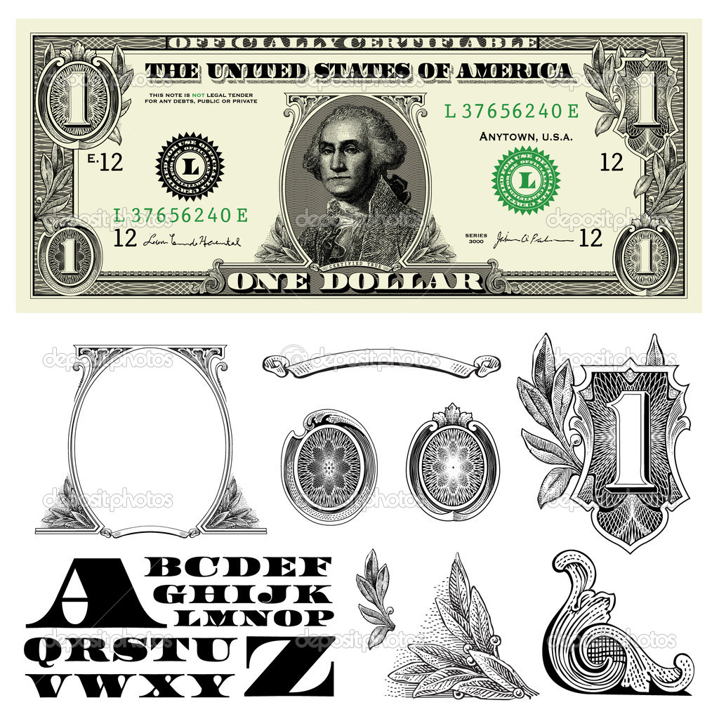 15 Dollar Bill Vector Ornaments Images