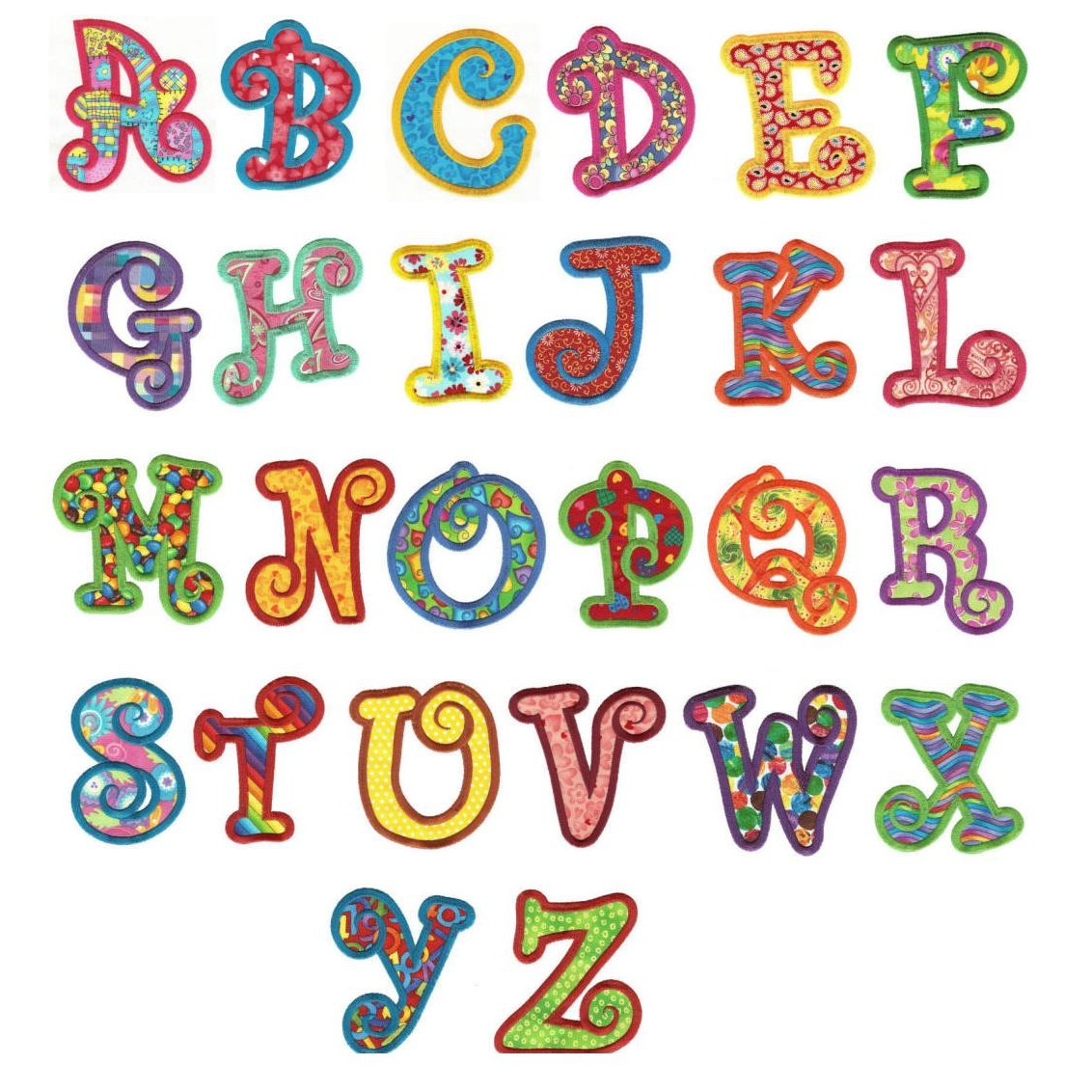 Chunky applique font images embroidery