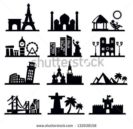 Famous Landmarks Black and White