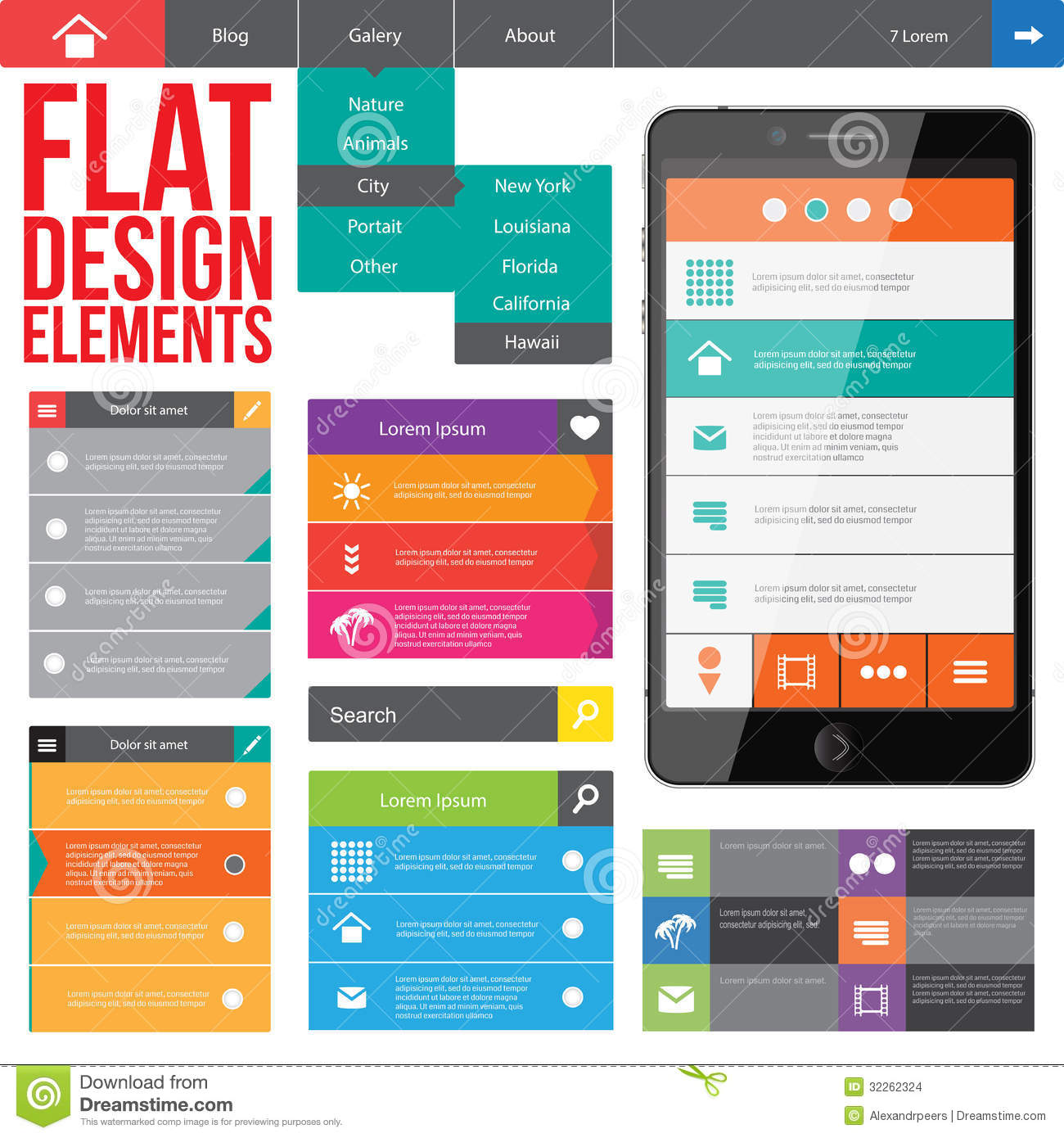11 Flat Design Elements Images