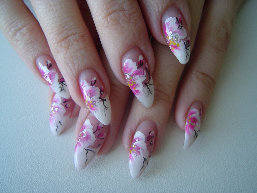 Flower Acrylic Nail Design
