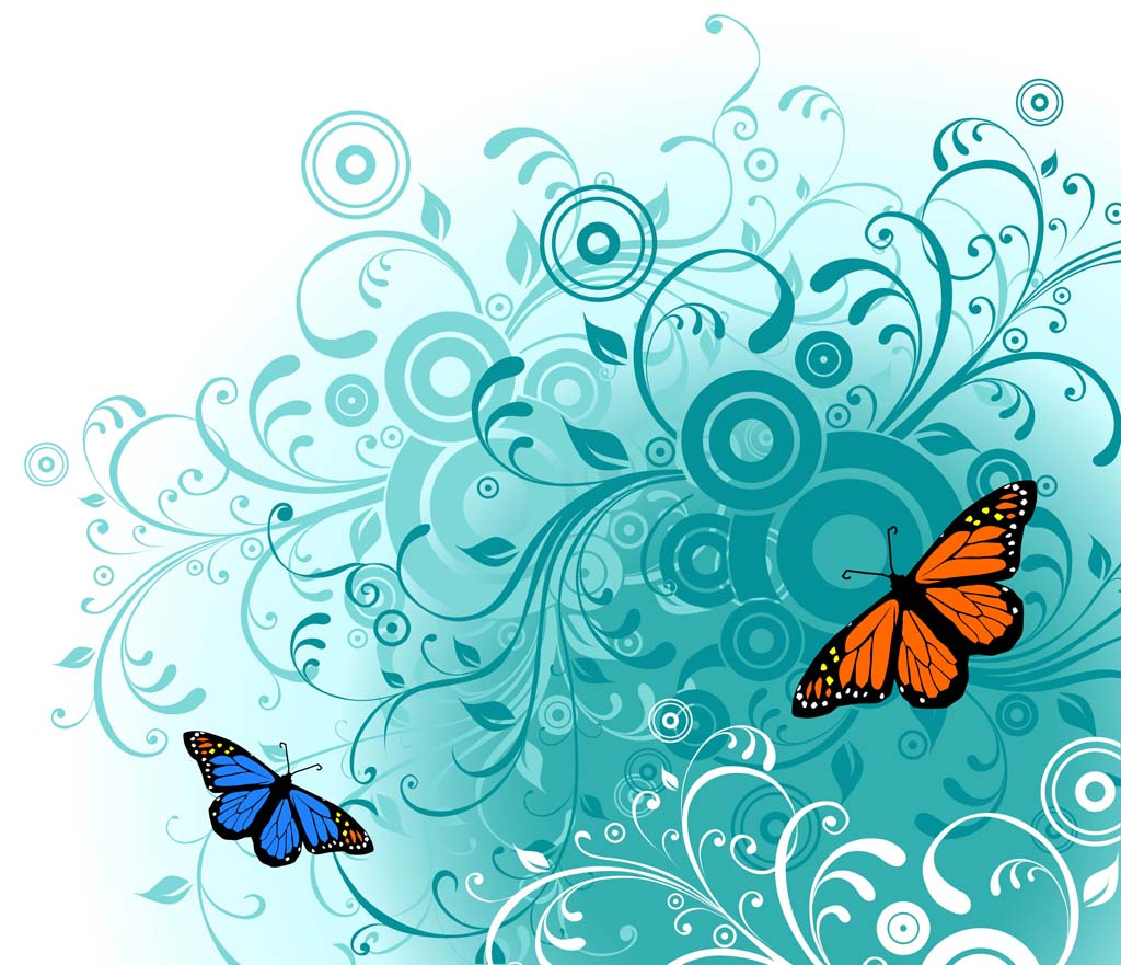 12 Butterflies Vector Art Wallpaper Images