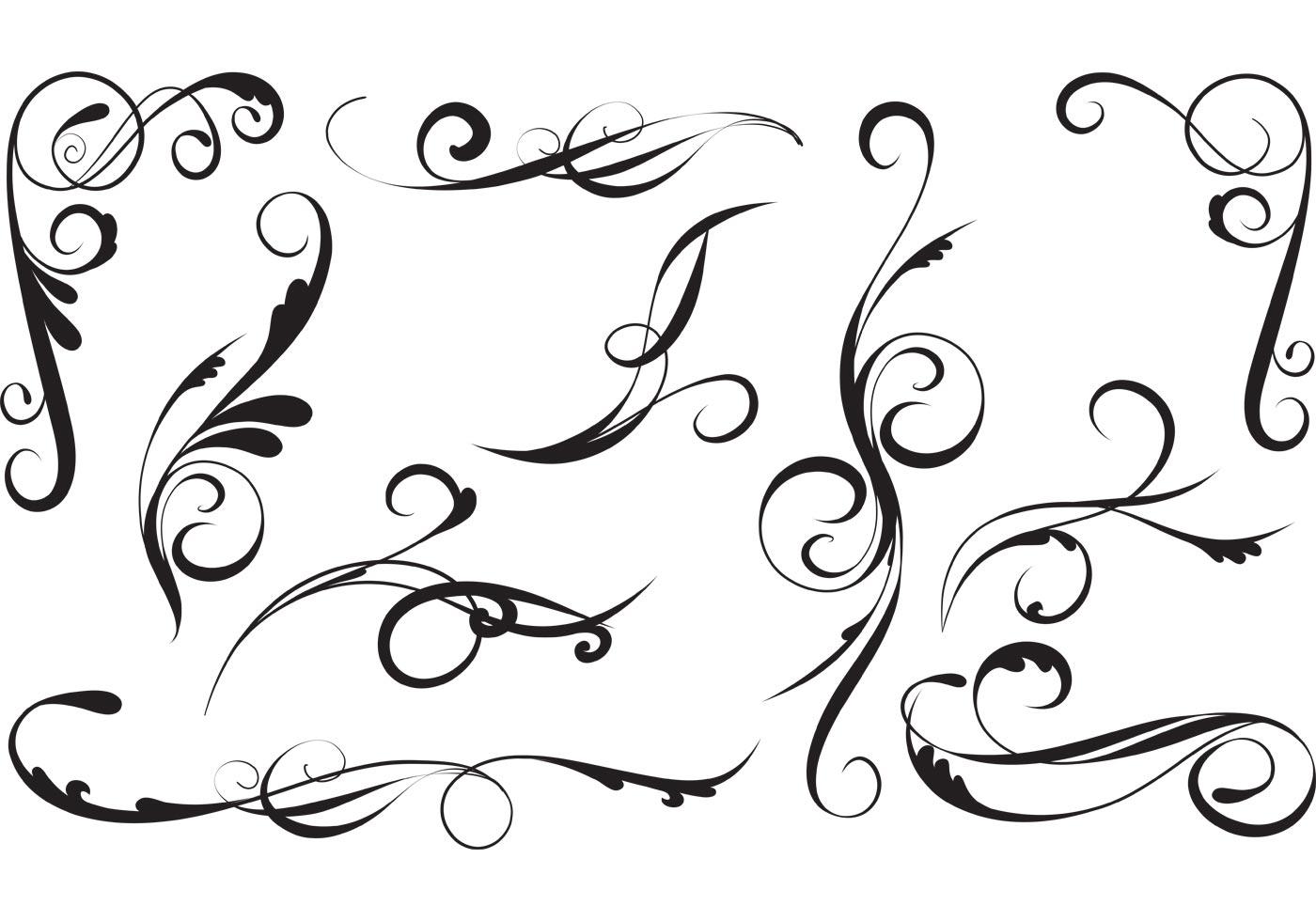 11 Elegant Swirl Designs Vector Images
