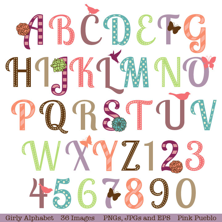 Girly Bubble Letters Alphabet