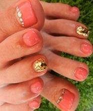 Gold and Orange Toe Nail Design