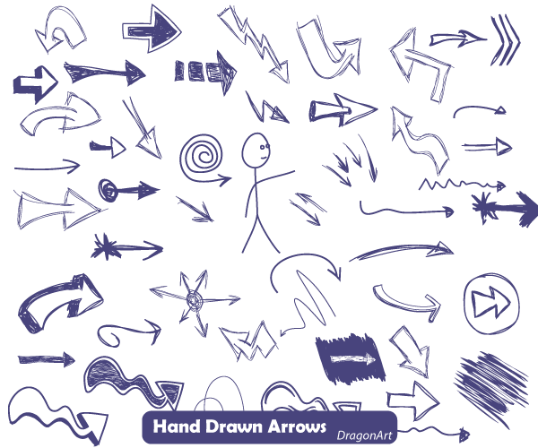 14 Free Hand Drawn Vector Arrows Images