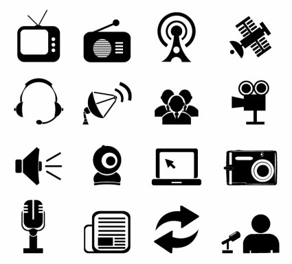 Mass Media Icons Vector Free