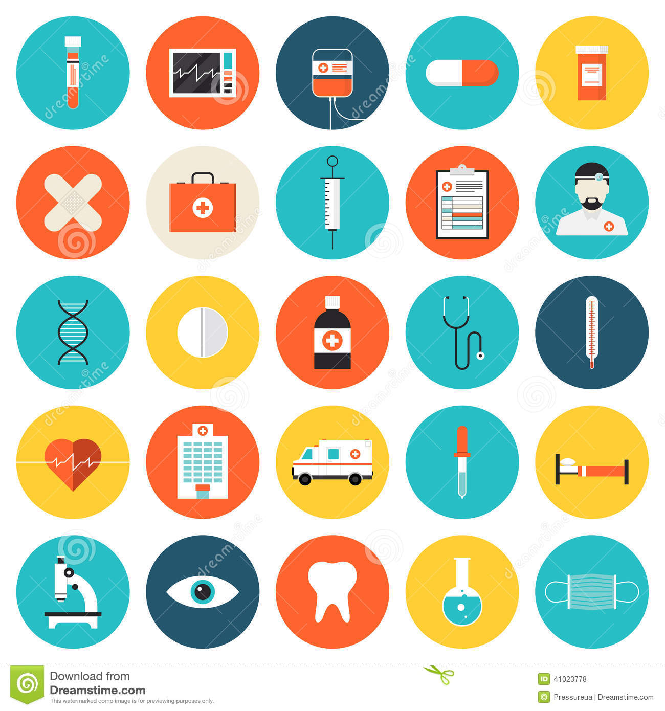 6 Flat Health Icons Images