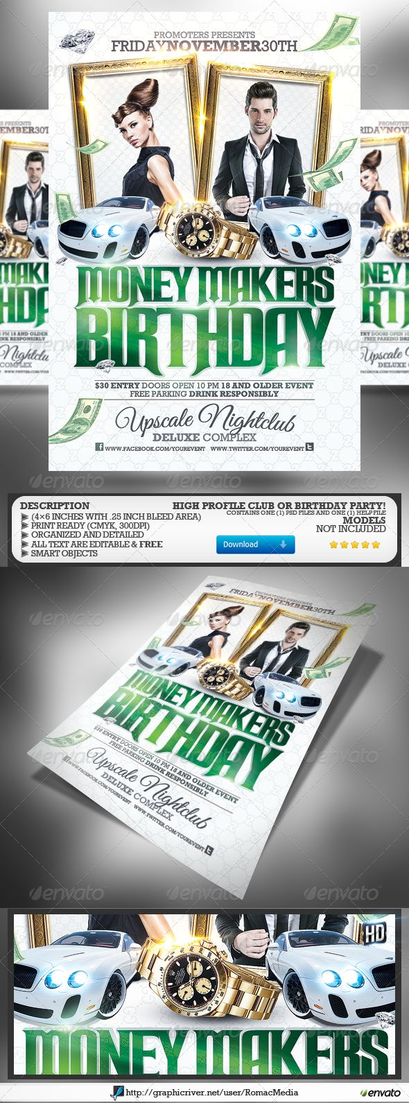 16 Money Party Flyers PSD Images