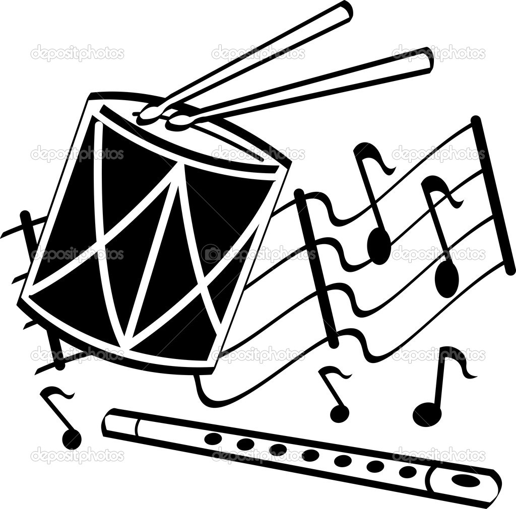 Musical Notes Clip Art Black and White