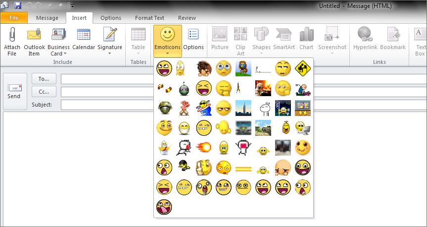 Outlook email smileys in 2007 einfügen Insert a