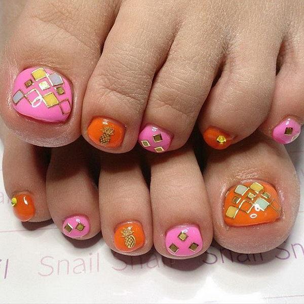 Pink and Orange Toe Nail Design
