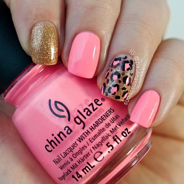 Pink Cheetah Print Nail Art