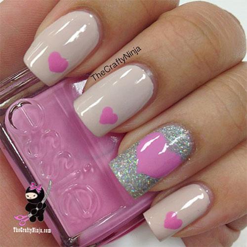 Pink Heart Nail Art Design