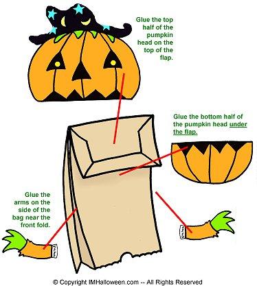 Pumpkin Paper Bag Puppet Templates
