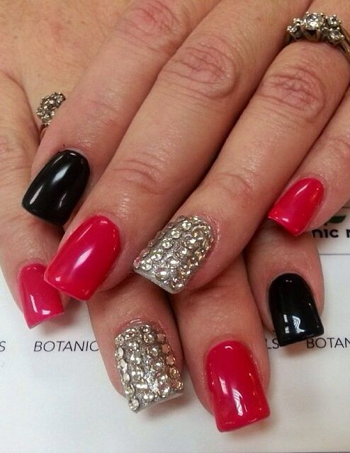 Awesome Black And Red Nails Photo Composition Nail Art Design