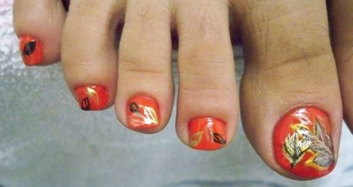 Toenail Designs Fall Leaves