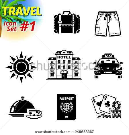 Travel Icons Black and White