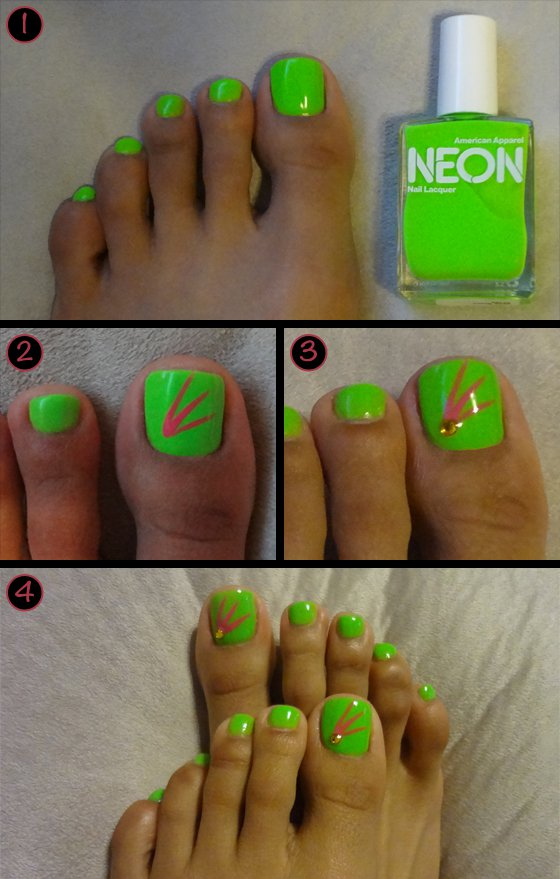 14 Neon Color Designs Nails Toes Images - Bright Neon Color Toe Nail ...