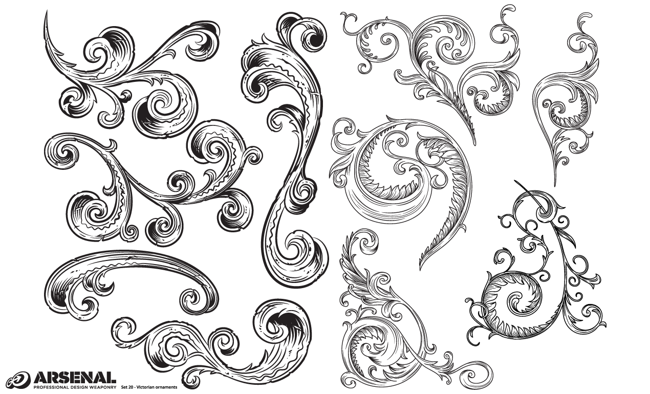12 Victorian Vector Flourishes Images