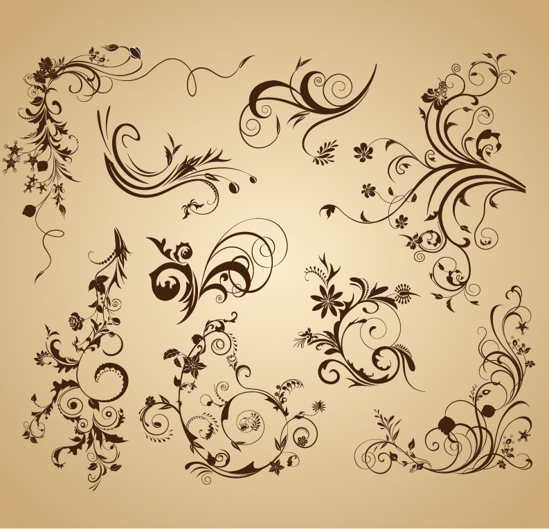 9 Floral Design Elements Vector Set Images
