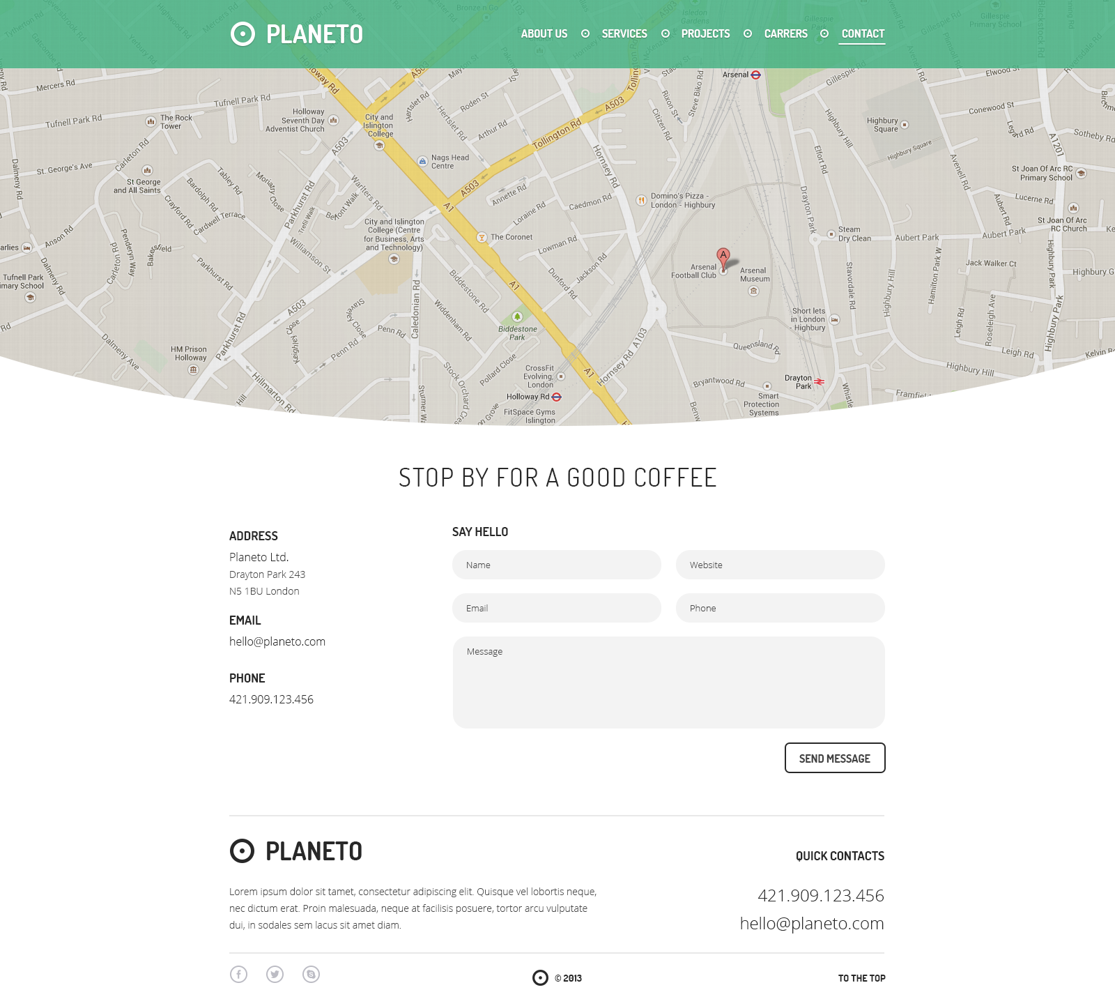 Website Contact Page Template