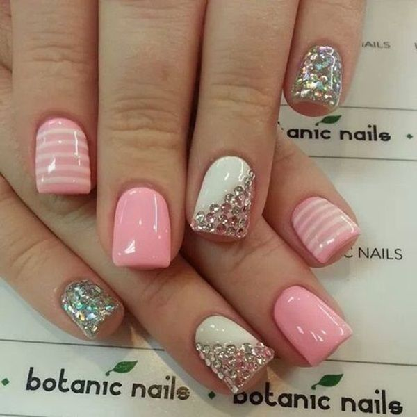 White Pink Silver Nails