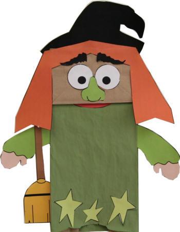 Witch Paper Bag Puppet Template