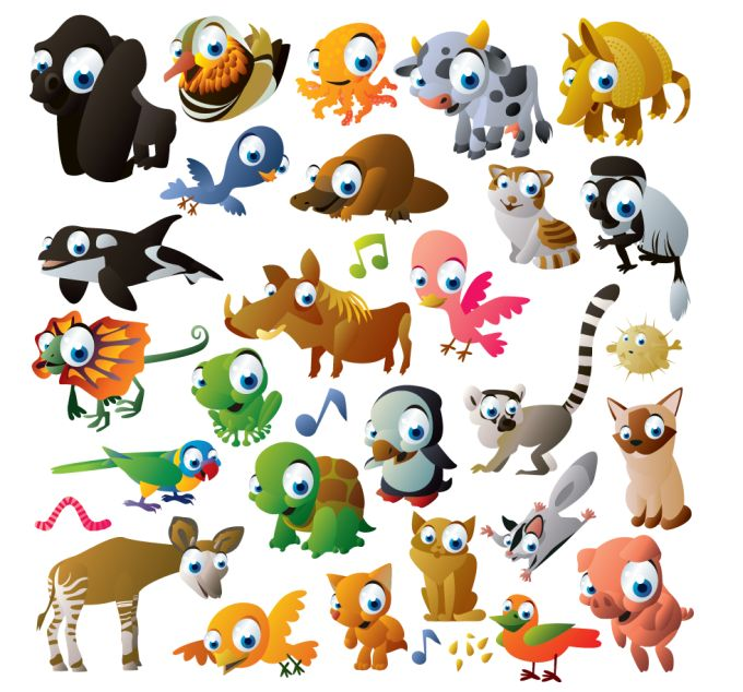 XOO Plate :: 42 Cute Colorful Cartoon Animals Vector Set - 42 Colorful