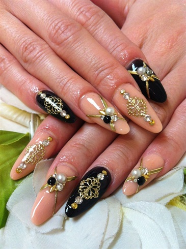 12 Beige And Black Nail Designs Images