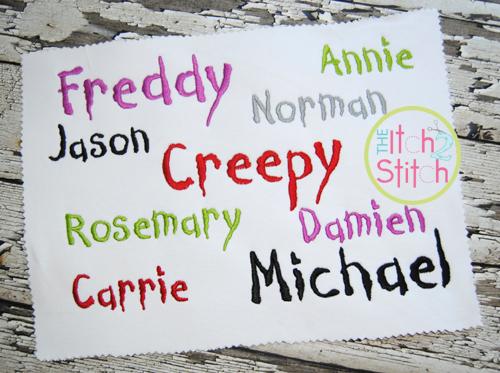 Creepy Halloween Font Embroidery