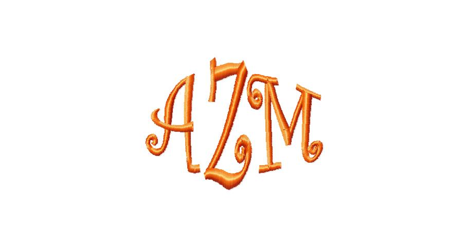 Curlz Embroidery Monogram Fonts