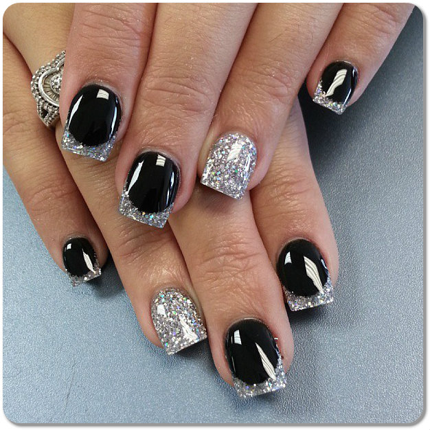 12 Black Silver Nail Polish Designs Images