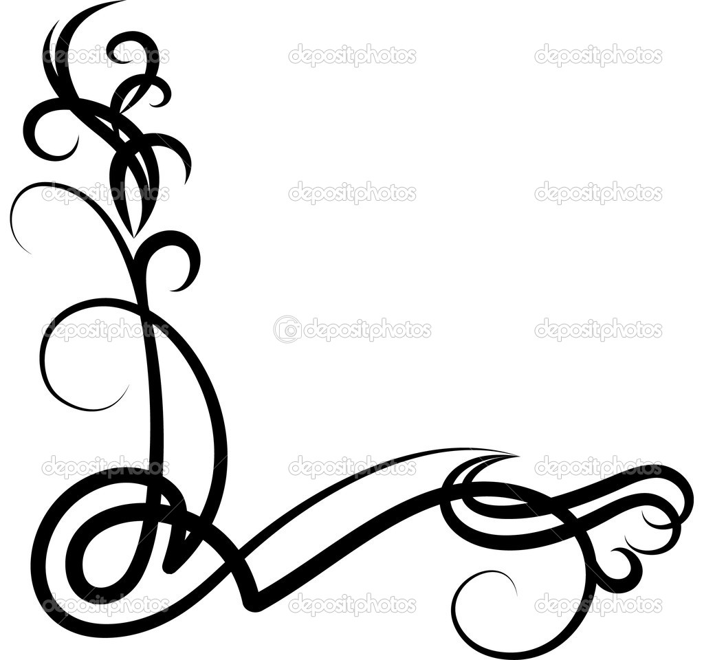 Decorative Corner Scroll Clip Art