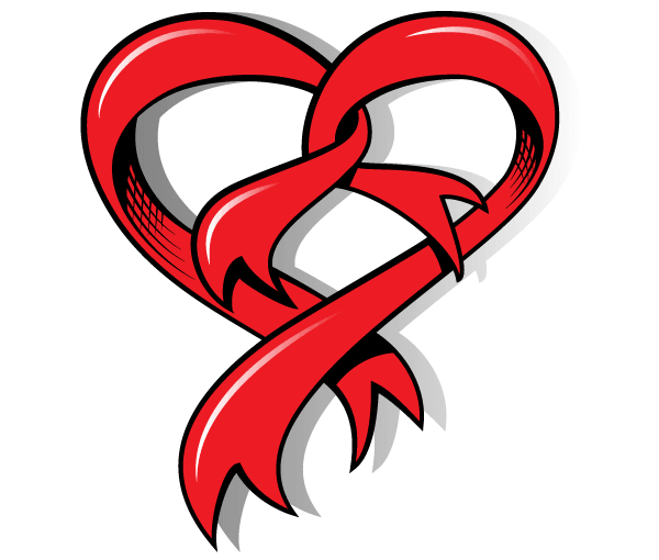 Drawing Heart with Ribbon Vector