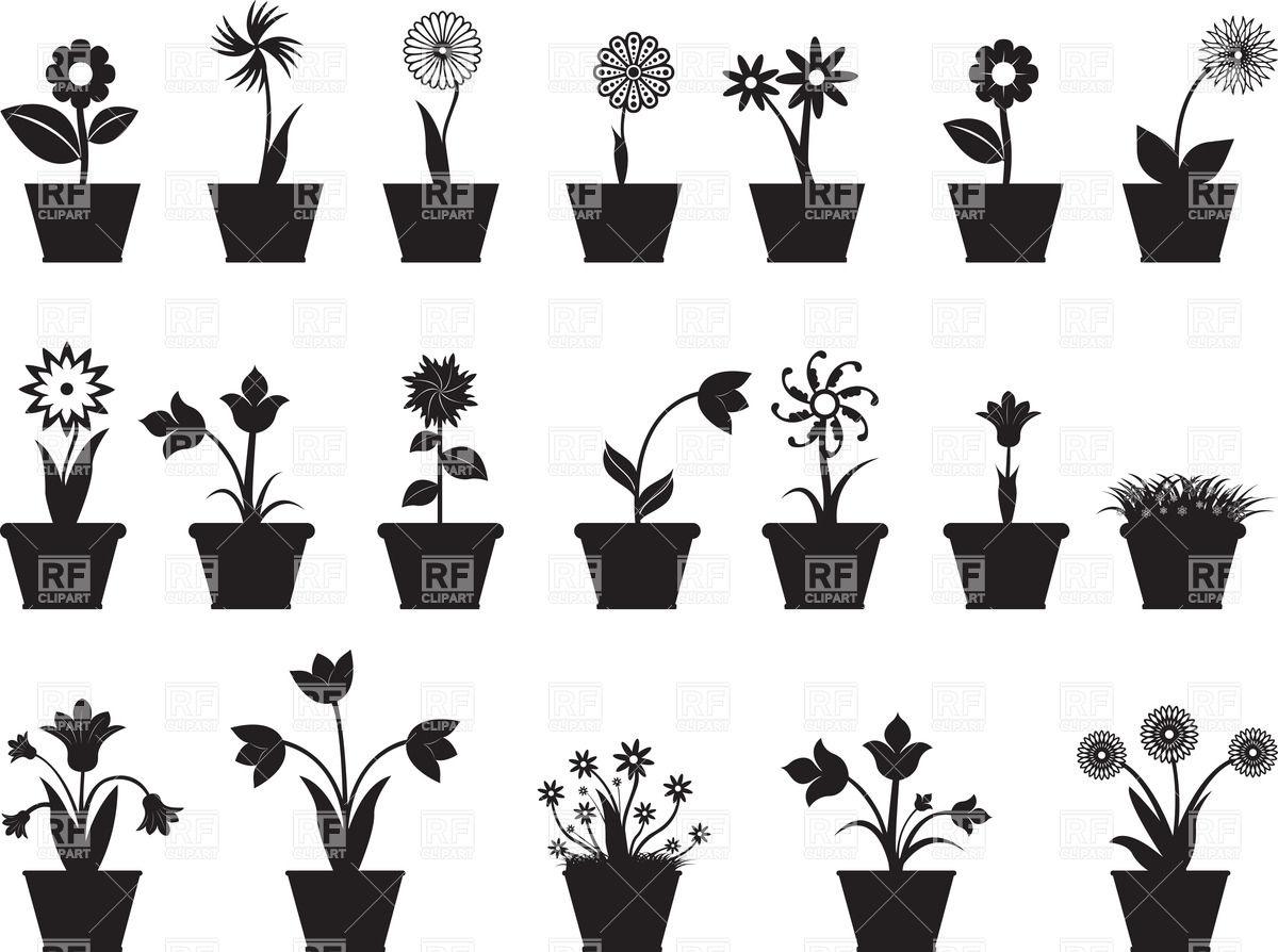 Flower Pot Silhouette Vector