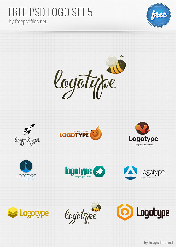 9 Logo Design Templates Free PSD Pack Images