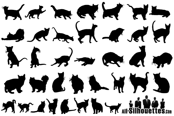 17 Cat Silhouettes Vector Free Images