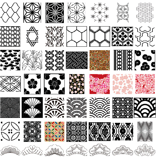 16 Japanese Geometric Pattern Vector Images
