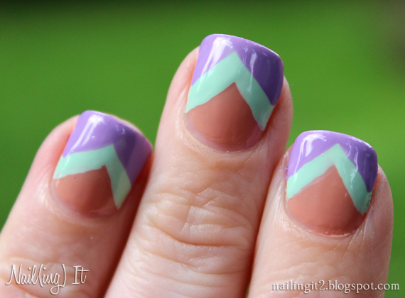 Peach Teal Nail Art