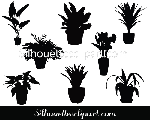 Potted Plant Clip Art Silhouette